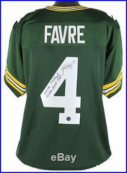 Packers Brett Favre Career Stats Signed Green Jersey with Favre Hologram & COA
