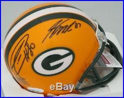 Packers DONALD DRIVER & JORDY NELSON Dual Signed Mini Helmet AUTO XLV JSA