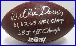 Packers WILLIE DAVIS Signed Wilson Duke 1960's Football AUTO with 3 INSC HOF