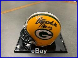 Reggie White signed Green Bay Packers mini helmet with case