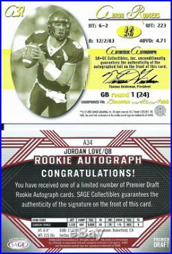 Sage Auto Rc Lotaaron Rodgers 2005 Bronze /120+2020 Jordan Love /200+aj Dillon