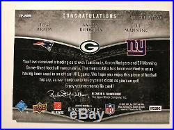 Tom Brady Aaron Rodgers Eli Manning 2009 Exquisite Triple Patch #24/25 Gradeable