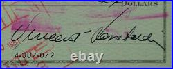 VINCE LOMBARDI Autograph Signed Check Packers Beckett Authentic AUTO