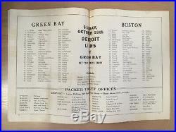 Vintage 1936 NFL Boston Redskins @ Green Bay Packers Football Program Lambeau