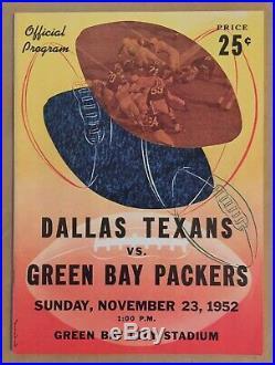Vintage 1952 NFL Dallas Texans (1 Year) @ Green Bay Packers Football Program
